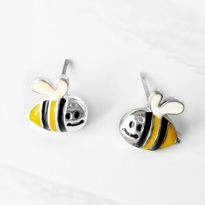 Stud Earrings•Smiling Bumble Bees•Small